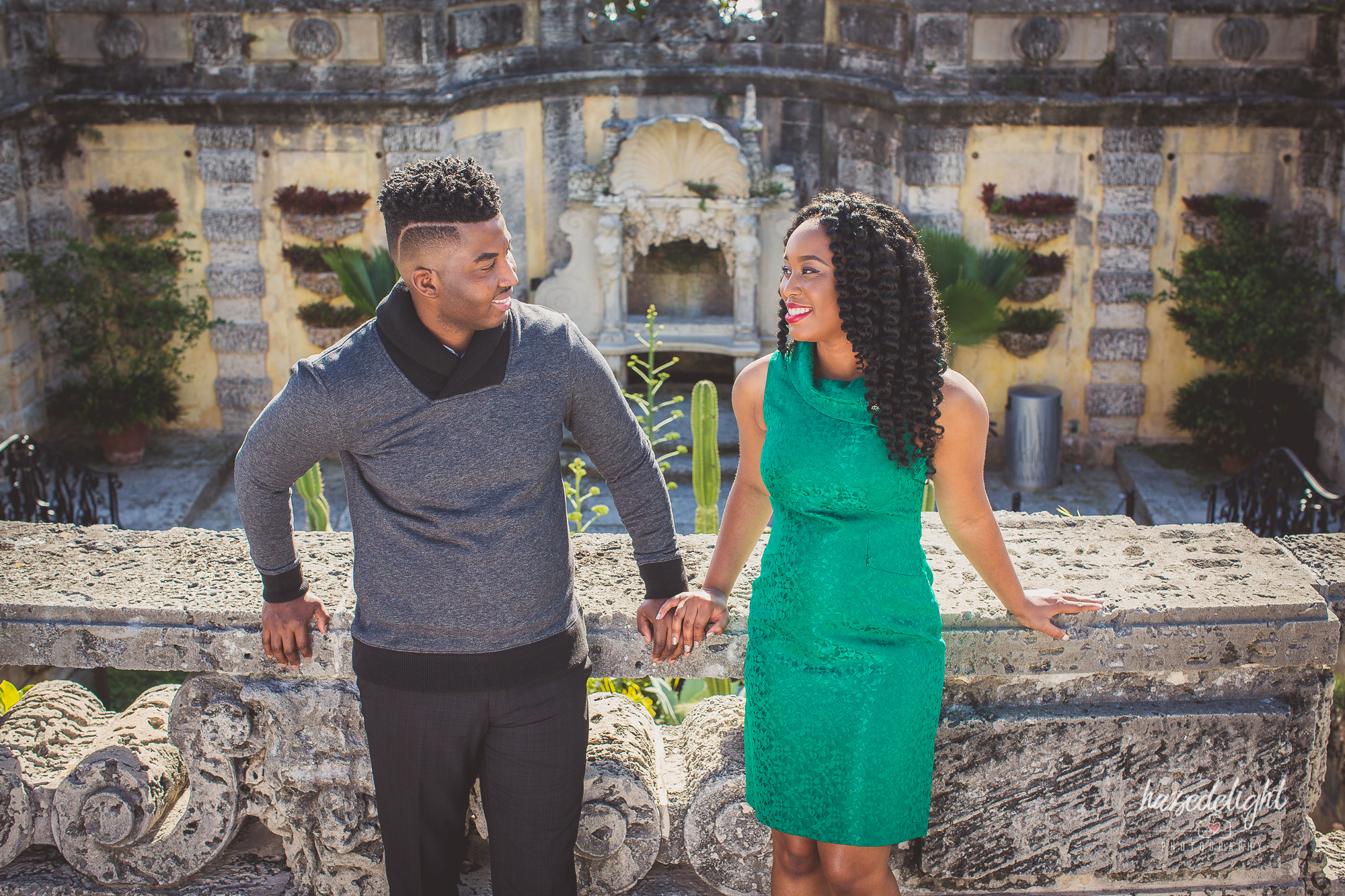 Malissa & Jean: Engagement Photography Session at Vizcaya Museum, Fl.